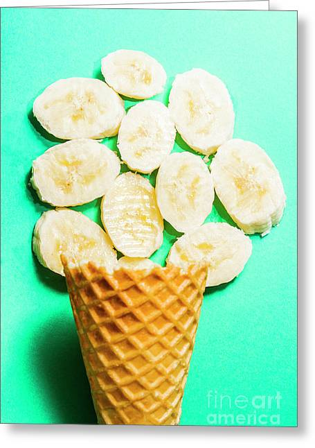 Dessert Concept Of Ice-cream Cone And Banana Slices Greeting Card