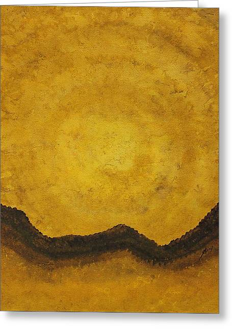 Desert Daybreak Original Painting Greeting Card by Sol Luckman