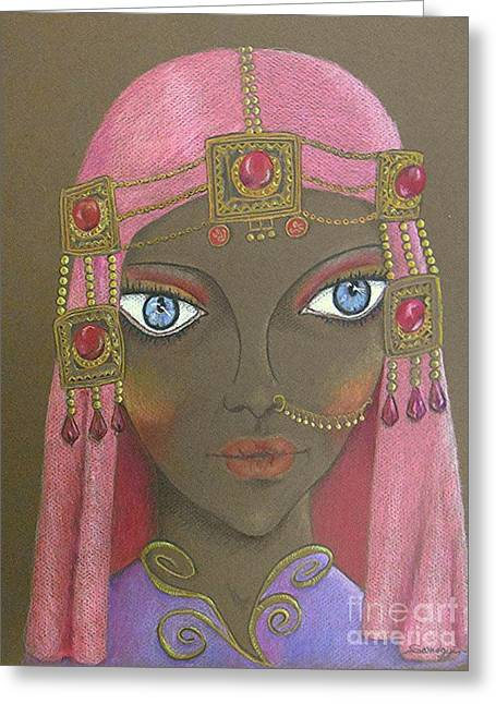 Desert Diva -- Whimsical Arabic Woman Greeting Card