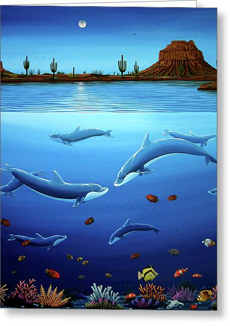 Desert Dolphins Close  Greeting Card by Lance Headlee