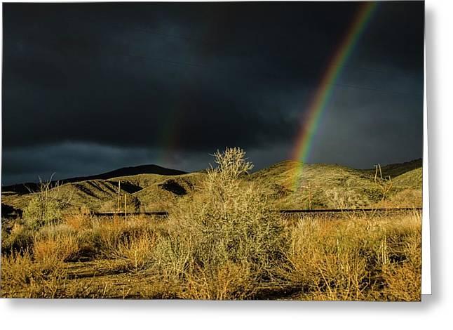 Desert Double Rainbow Greeting Card