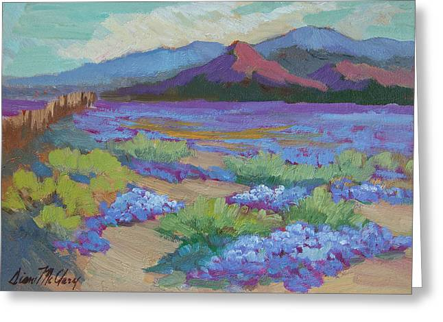 Greeting Card featuring the painting Desert In Bloom by Diane McClary