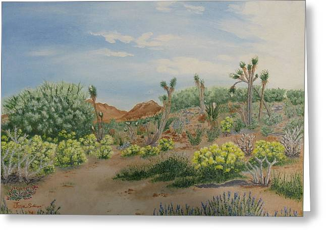 Desert In Bloom Greeting Card by Joan Taylor-Sullivant