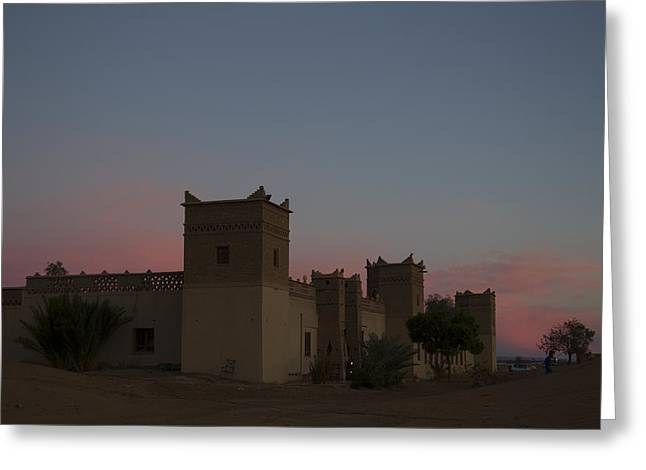 Greeting Card featuring the tapestry - textile Desert Kasbah Morocco 2 by Kathy Adams Clark