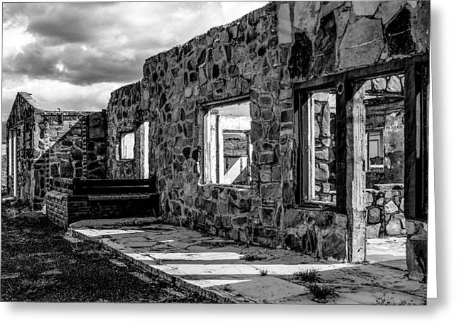 Desert Lodge Bw Greeting Card