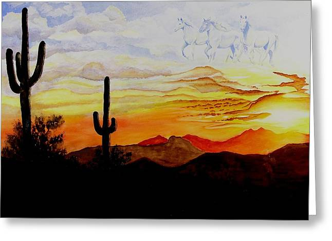 Desert Mustangs Greeting Card by Jimmy Smith