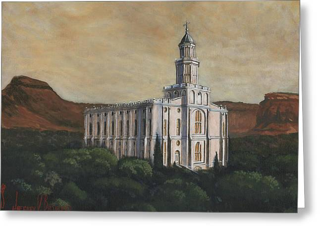 St. George Temple Greeting Cards - Desert Oasis Greeting Card by Jeff Brimley
