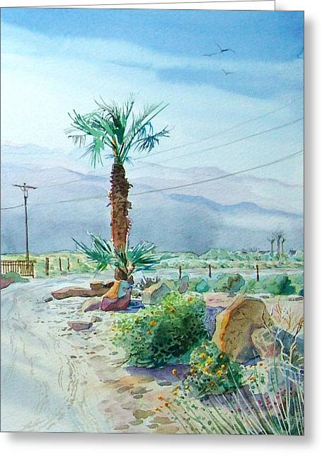 Greeting Card featuring the painting Desert Palm by John Norman Stewart