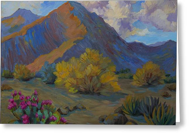 Desert Palo Verde And Beavertail Cactus Greeting Card by Diane McClary