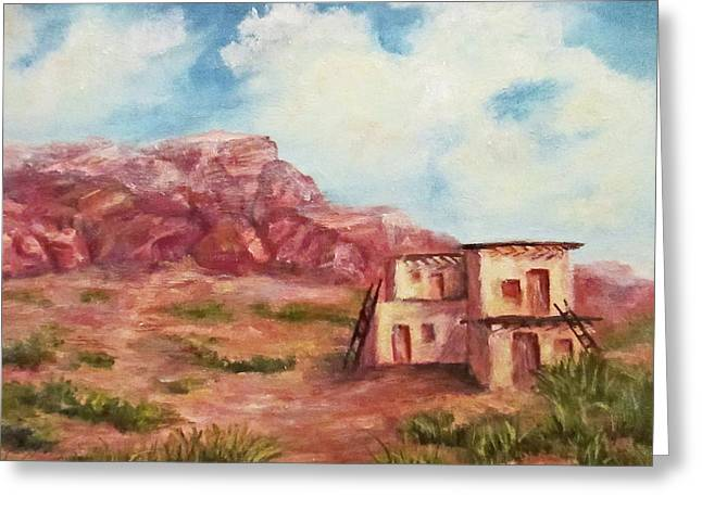 Desert Pueblo Greeting Card by Roseann Gilmore