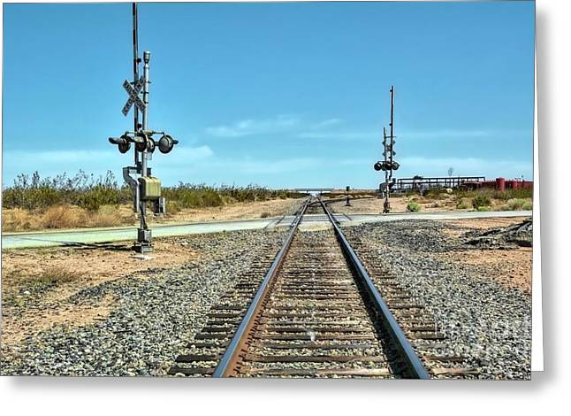 Desert Railway Crossing Greeting Card