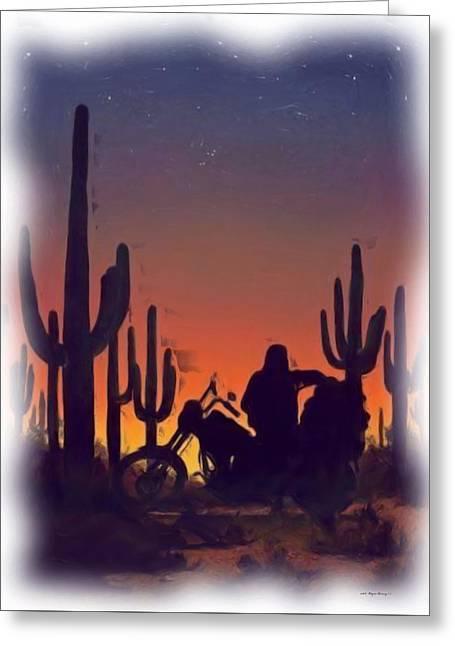 Desert Ride At Sunset Greeting Card