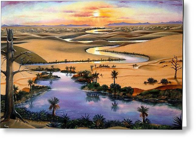 Desert River Greeting Card by Praisey Peter