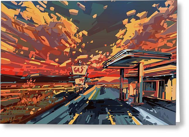 Desert Road Landscape 2 Greeting Card