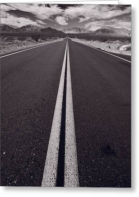 Desert Road Trip B W Greeting Card by Steve Gadomski
