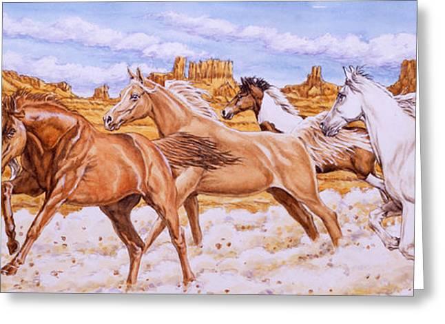 Desert Run Greeting Card by Richard De Wolfe