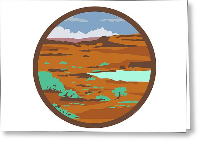 Desert Scene Circle Retro Greeting Card