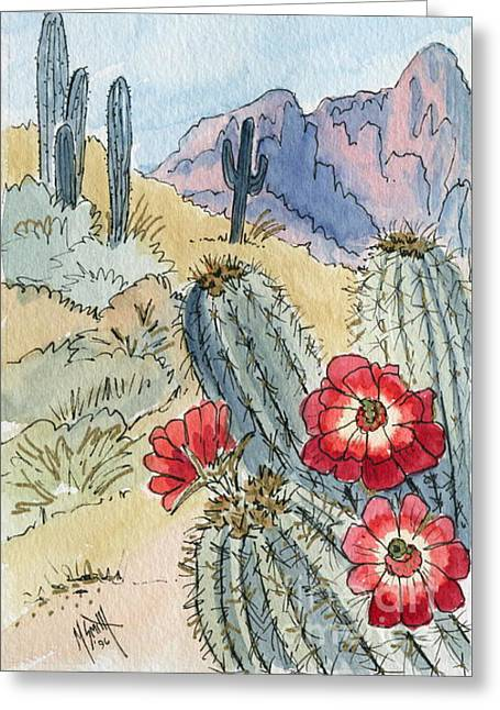 Desert Scene One Ink And Watercolor Greeting Card by Marilyn Smith