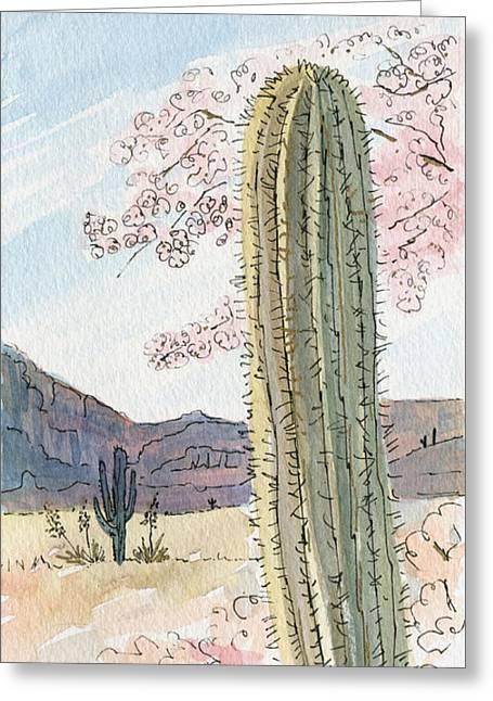 Desert Scene Two Ink And Watercolor Greeting Card