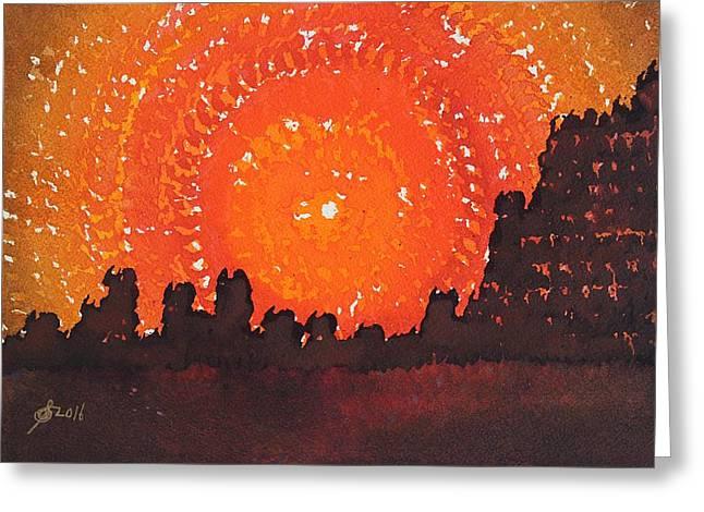Desert Solstice Original Painting Greeting Card by Sol Luckman