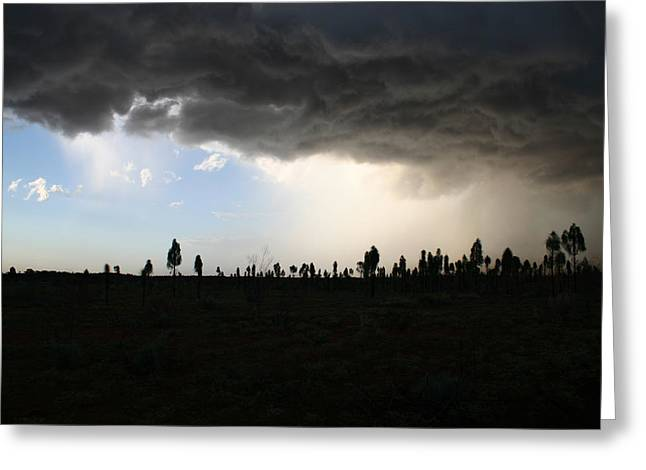 Greeting Card featuring the photograph Desert Storm Near Uluru In The Northern Territory by Keiran Lusk