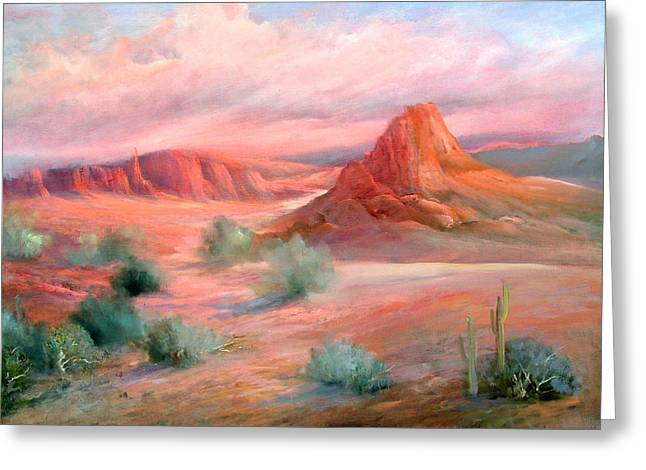 Desert Sunrise Greeting Card by Sally Seago