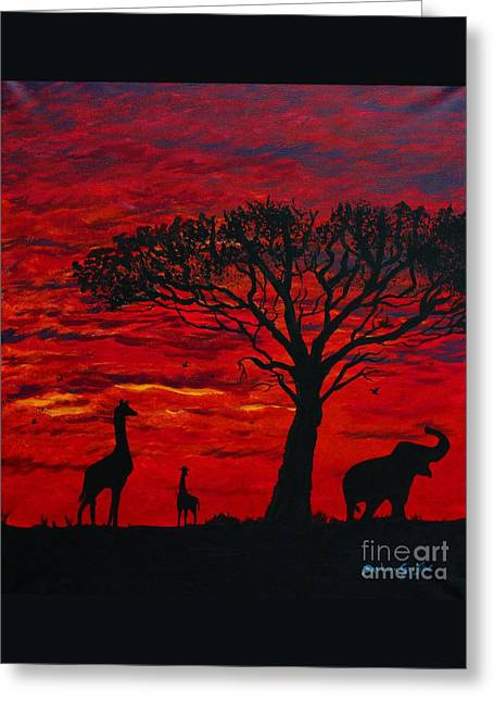 Desert Sunset 3 Greeting Card by Barbara Griffin