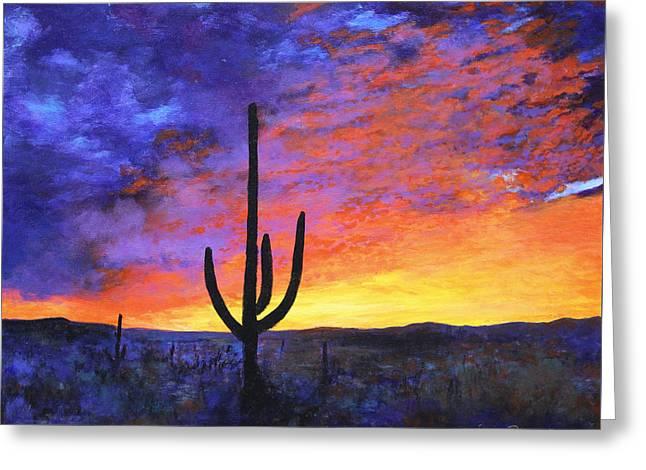 Desert Sunset 4 Greeting Card by M Diane Bonaparte
