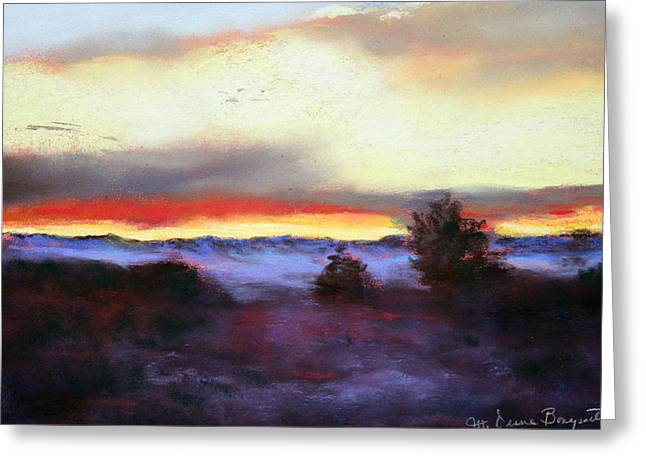 Greeting Card featuring the painting Desert Sunset I by M Diane Bonaparte