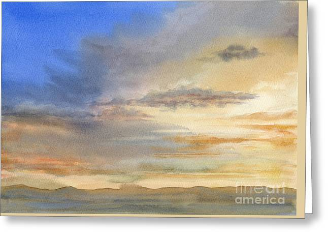 Desert Sunset Greeting Card by Sharon Freeman