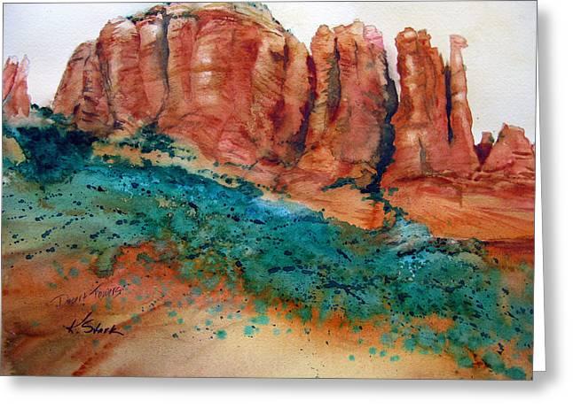 Desert Towers Greeting Card by Karen Stark