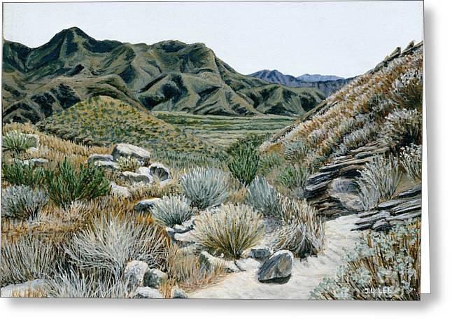 Desert Trail Greeting Card by Jiji Lee