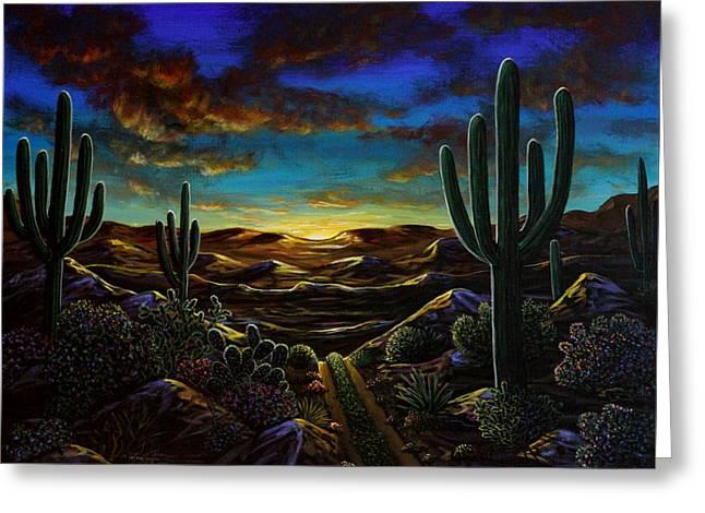 Desert Trail Greeting Card by Lance Headlee