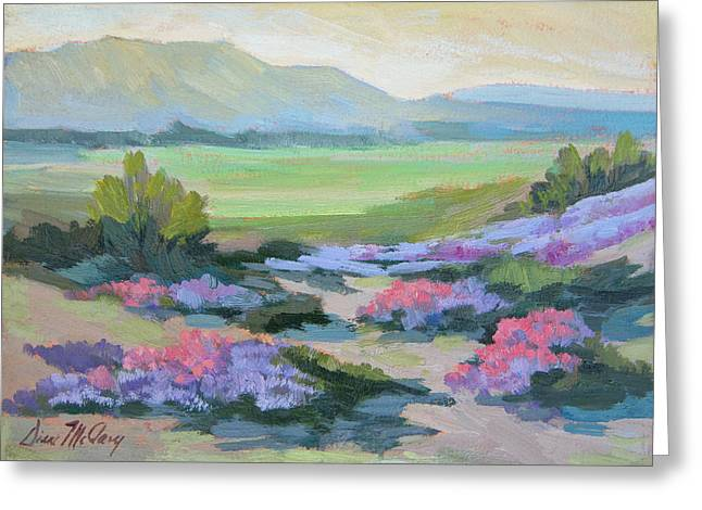 Greeting Card featuring the painting Desert Verbena 1 by Diane McClary