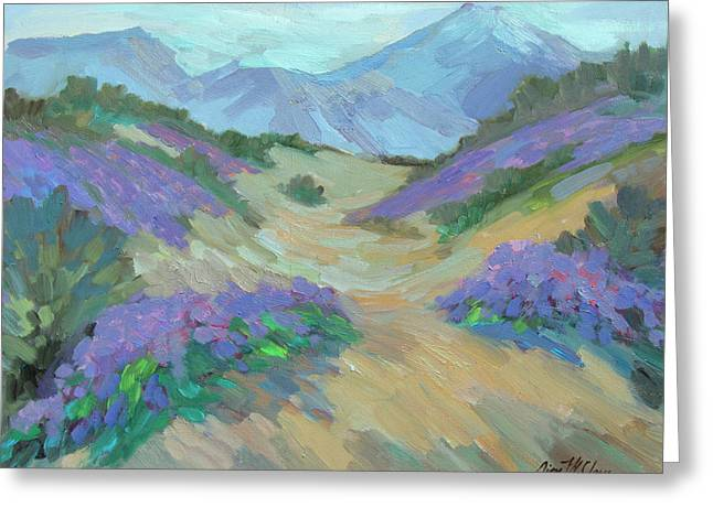 Greeting Card featuring the painting Desert Verbena by Diane McClary