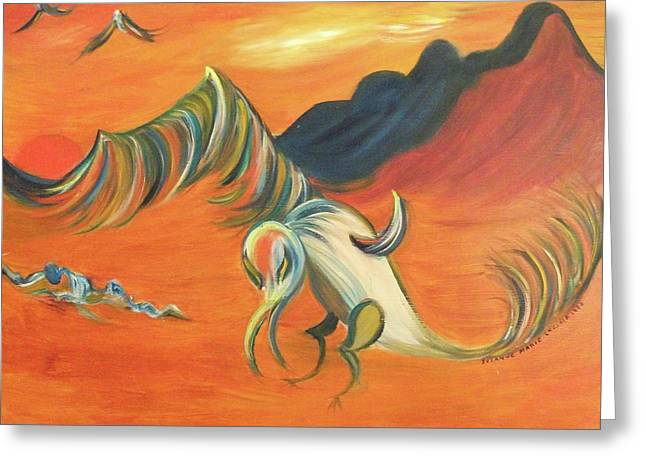 Suzanne Marie Molleur Paintings Greeting Cards - Desert Vulture Greeting Card by Suzanne  Marie Leclair