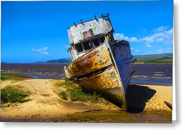 Deserted Beached Boat Greeting Card