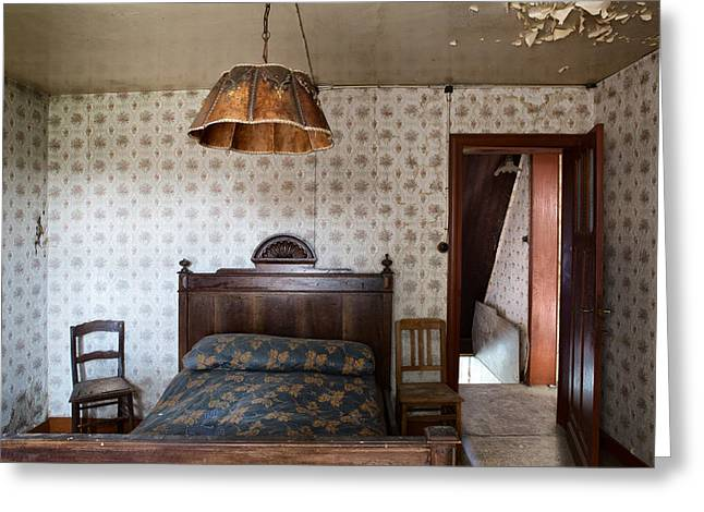 Deserted Bed Room - Urban Decay Greeting Card by Dirk Ercken