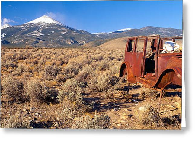 Deserted Car With Cow Skeleton, Great Greeting Card by Panoramic Images