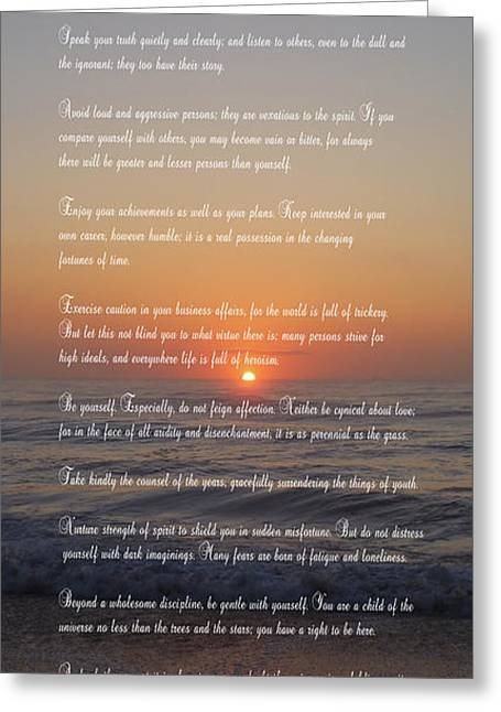 Desiderata ......... Desired Things Greeting Card by Daniel Hagerman