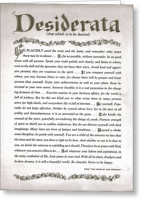Inspirational Drawings Greeting Cards - Desiderata 3 Greeting Card by Desiderata Gallery
