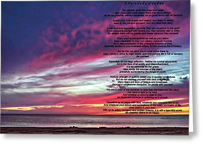 Desiderata - Huron Evening Greeting Card by Steve Harrington
