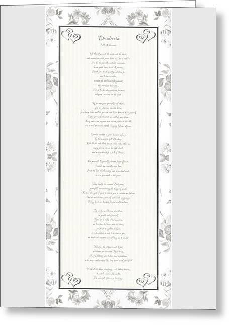 Desiderata In Silver Script By Max Ehrmann Greeting Card