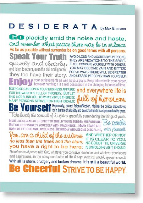 Desiderata - Multi-color - Rectangular Format Greeting Card by Ginny Gaura