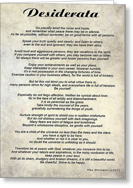 Desiderata - Paper Greeting Card by Steve Harrington