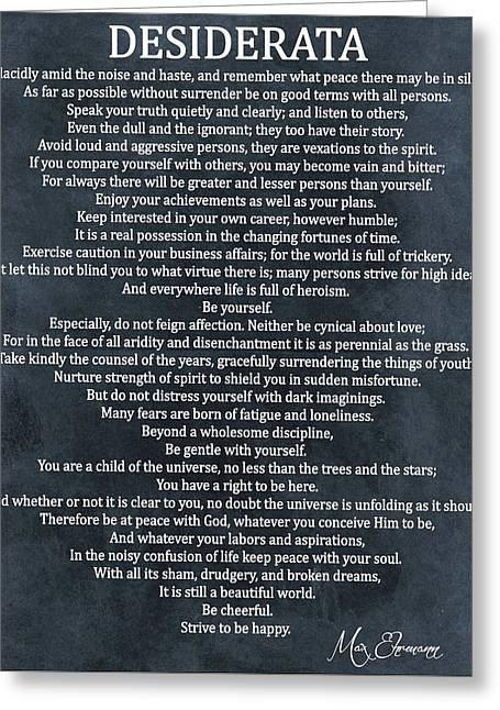 Desiderata Poem Cool Blue Greeting Card by Dan Sproul