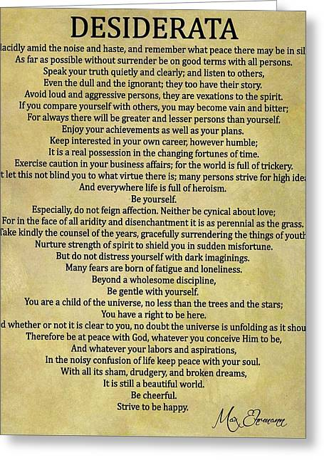 Desiderata Poem Greeting Card by Dan Sproul