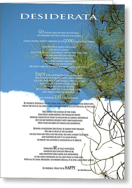 Desiderata Poem Over Sky With Clouds And Tree Branches Greeting Card