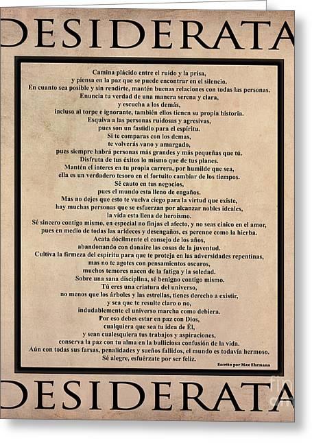 Desiderata - Spanish- Poema Escrito Por Max Ehrmann Greeting Card