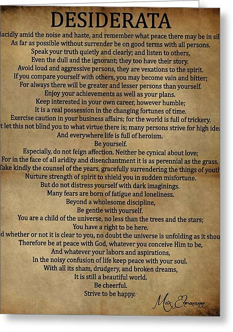 Desiderata Vintage Greeting Card by Dan Sproul